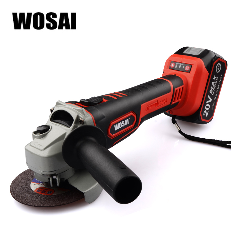 WOSAI Cordless Angle Grinder 20V Lithium-Ion Grinding Machine Electric Grinder Polishing Cutting Power Tools