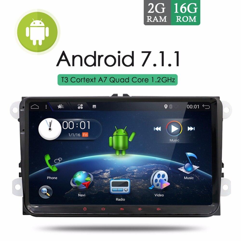 2 gb RAM Android 7.1.1 Voiture Stéréo Radio Pour VW Passat Golf Tiguan Touran GPS Navi CFC AUX Bluetooth Wifi OBD2 ISO FM/AM + CANBUS