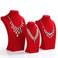 Fashion design shape red suede necklace bust frame display rack jewelry storage holder accessories show with good quality