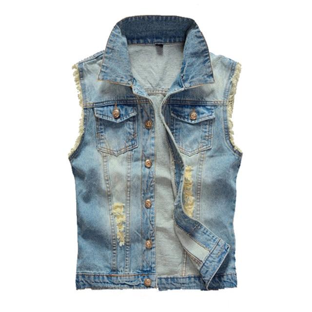 2016 Mens Vintage Jeans Vest Casual Ripped Denim Waistcoat Light Blue Slim Fit Vest Big Size M-5XL Z1316