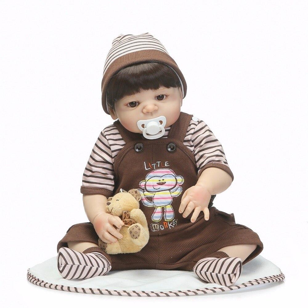 NPK 19inch 48cm full Silicone Reborn Baby boy Dolls Toy Playmate House Lifelike Newborn Babies bebe