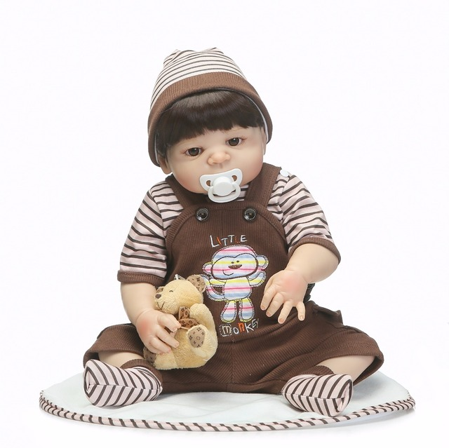 Full Silicone Reborn Baby Boy Dolls Toy Playmate Lifelike Toy 1