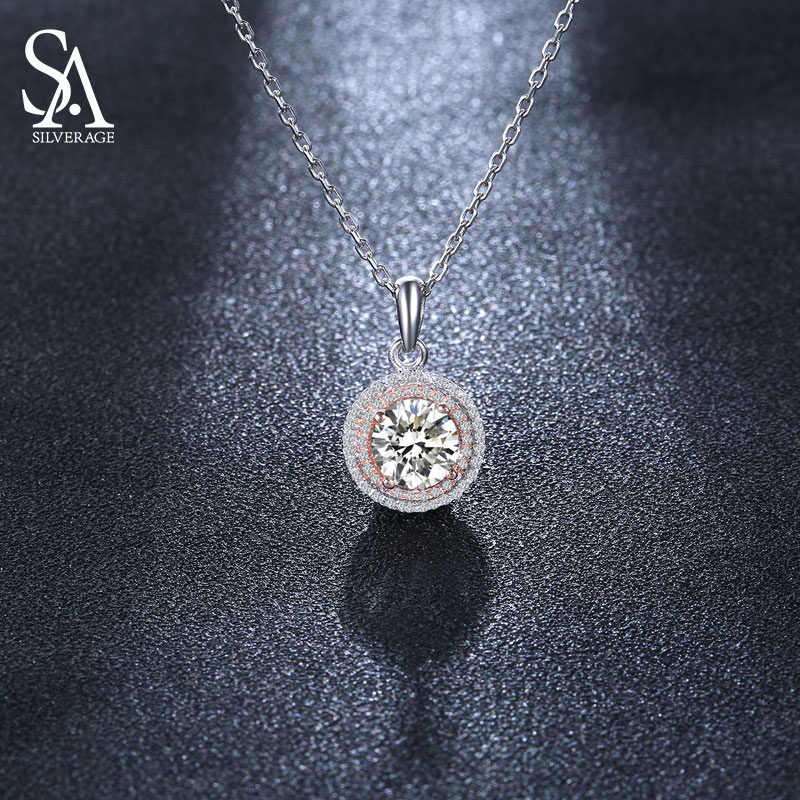 SILVERAGE Real 925 Sterling Silver White Zircon Pendant Necklaces for Women Luxury Necklace Gold Color SA SILVERAGE