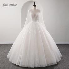 Fansmile חדש אשליה בציר איכות תחרה חתונה שמלת 2020 כדור שמלת כלה כלה נסיכת Vestido דה Noiva FSM 559F