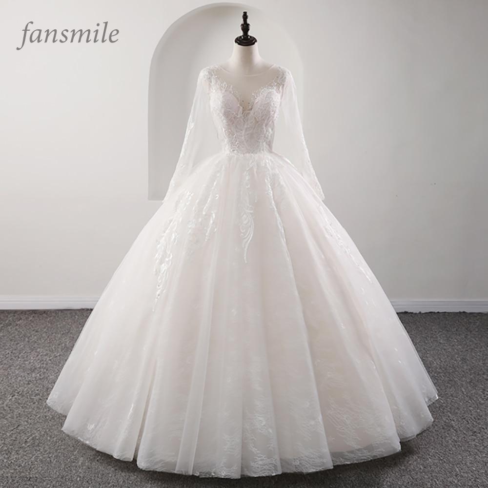 Fansmile New Illusion Vintage Quality Lace Wedding Dress