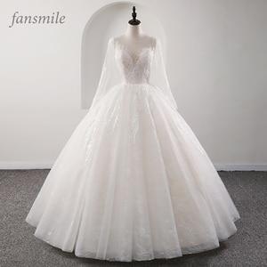 Image 1 - Fansmile New Illusion Vintage Quality Lace Wedding Dress 2020 Ball Gown Princess Bridal Wedding Gowns Vestido De Noiva FSM 559F