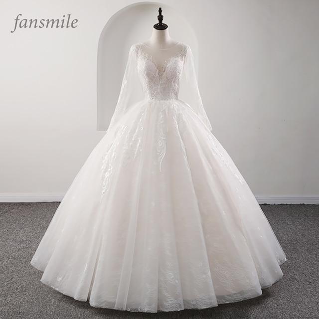 Fansmile New Illusion Vintage Quality Lace Wedding Dress 2020 Ball Gown Princess Bridal Wedding Gowns Vestido De Noiva FSM 559F