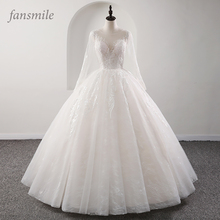 Fansmile nowa iluzja jakość w stylu vintage koronkowa suknia ślubna 2020 suknia balowa księżniczka suknie ślubne dla panny młodej Vestido De Noiva FSM 559F