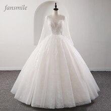 Женское кружевное свадебное платье Fansmile, винтажное платье принцессы с иллюзией, модель 2020 года, бальное платье, платье для невесты, платье для свадьбы, 2019