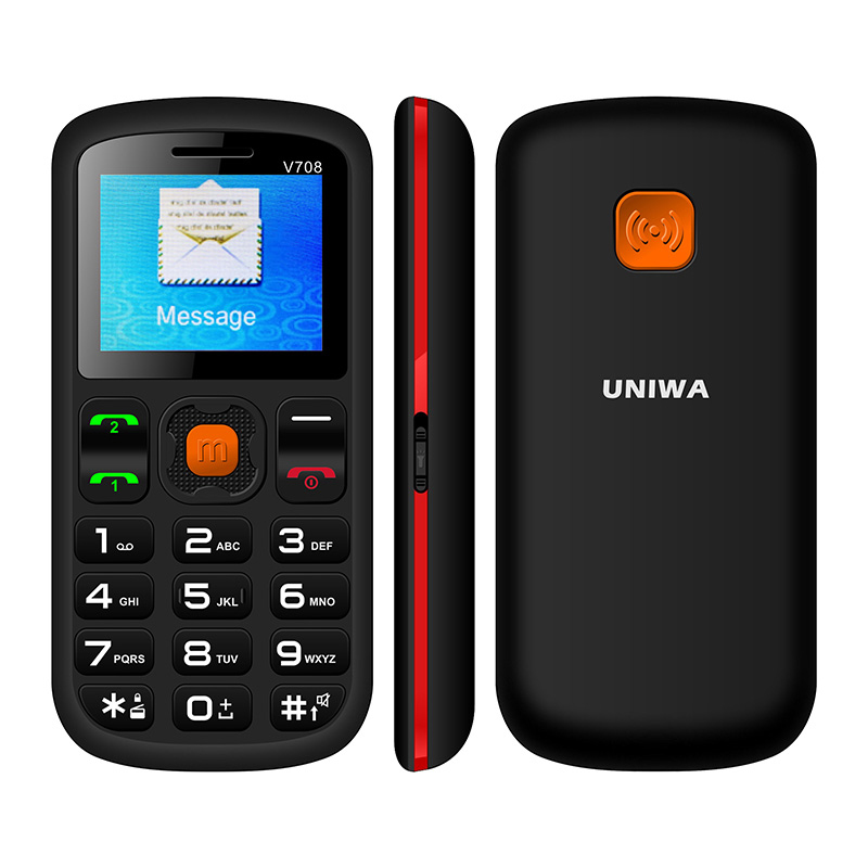 Uniwa V708 Feature Mobile Phone Charging Cradle Senior Old Man Phone Kids GSM FM