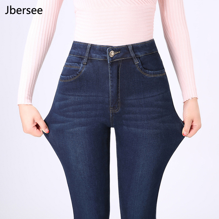 Jbersee High Quality Velvet Warm Thick   Jeans   Woman Autumn Winter High Waist Plus Size Straight   Jeans   Stretch Women's   Jeans