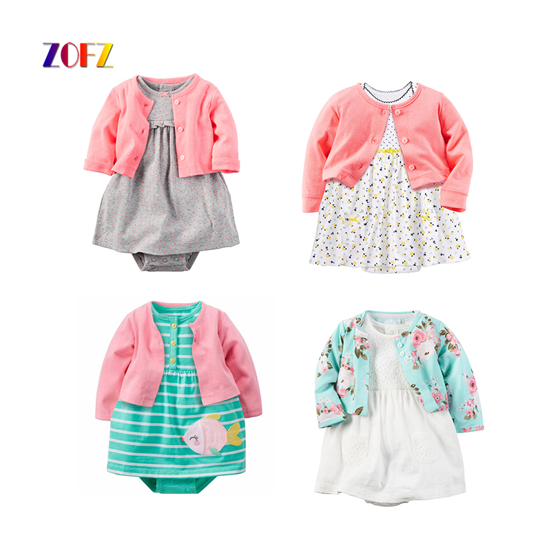 ZOFZ New Baby Girl Dress Fashion O-Neck 2pcs Dresses for Girls Cotton Floral Dresses with Long Sleeve Cardigan Baby Girl Clothes new cotton girl dress casual knee length solid long sleeve kids dresses for girls yellow baby girl dress spring fall 2017 hot