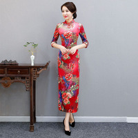 2019 Satin Qipao Summer Lady Traditional Chinese style Cheongsam Dresses Women Half Sleeve Long Qipao dress Plus Size M 4XL