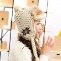 Llegó el nuevo otoño invierno dama de la moda de tejer Bombardero Sombreros gorras sombreros para las mujeres sombrero/Gruesas orejeras de protección tapas de bombarderos