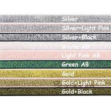 GOYIBA 5 Yard 3/8 10mm Metallic Glitter Non-foldover Elastics Spandex Band Headband Shoulder Bra Strap Lingerie Dress Lace Trim