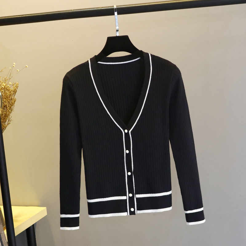 Women Cardigan Sweater 2019 Autumn Winter Knitted Cotton Tops Black White Cardigans Long sleeve Ladies Sweater Soft Outwear M90