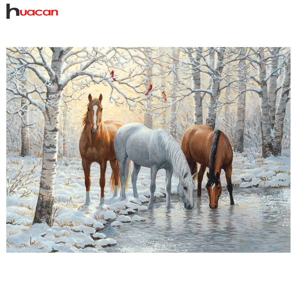 HUACAN DIY 5D Resin Diamond Painting Dyr Bilde av Rhinestones Christmas Decoration Diamond Broderi Hestemønster F1631