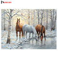 HUACAN DIY 5D Resin Diamond Painting Animals Picture of Rhinestones Christmas Decoration Diamond Embroidery Horse Pattern F1631