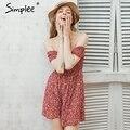 Simplee С плеча цветочный летний dress Винтаж высокая талия пляж dress женщины 2016 Sexy короткие платья vestidos