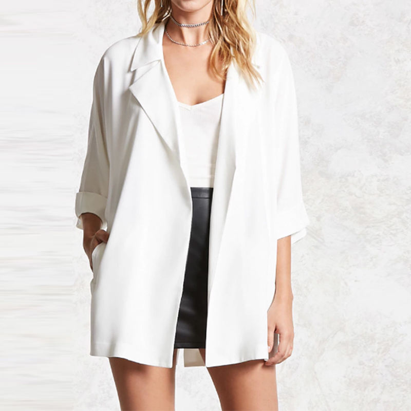 Autumn Women Chiffon Coat Three Quarter Sleeve Solid Color Jacket Casual Oversize Loose Turn-Down Collar Cardigan Lapel Coat