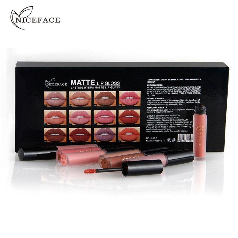 NICEFACE 12 Colors/Set Makeup Silky Liquid Lipstick Lip Gloss Pencil Beauty Long Lasting Lip Coloring Cosmetic Nude Makeup 3concept eyes 4 pen style moisturizing lipstick lip gloss pink