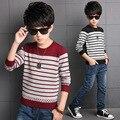 Crianças Blusas Para Os Meninos Roupas Adolescente Meninos Tops de Algodão Listrado Blusas de tricô 6 8 10 12 14 Anos Crianças Pullover roupas