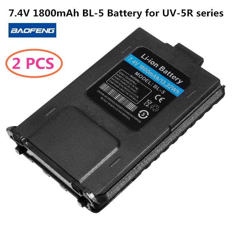2 STÜCKE Baofeng Batterie BL-5 Li-Ion Akku 7,4 V 1800 mah Walkie Talkie Funkgeräte Baofeng UV 5R Zubehör Baofeng UV-5R Serie