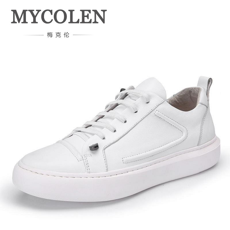 MYCOLEN New British Style White Shoes Designer Handmade Men Casual Shoes Men Soft Bottom Flats Shoes zapatillas hombre casual цена 2017
