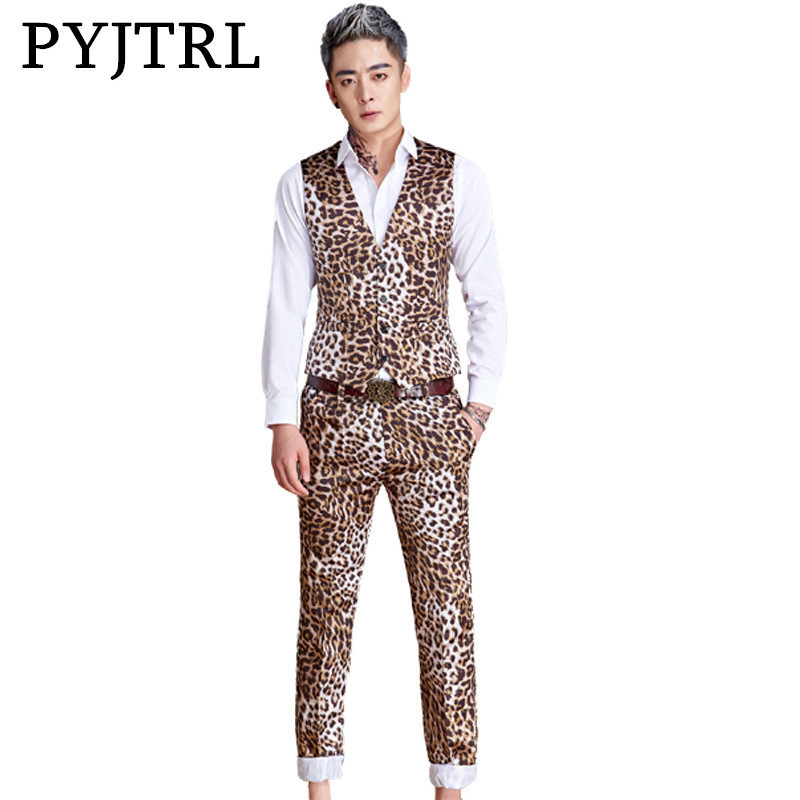 PYJTRL New M-5XL Tide Men Fashion Leopard Print Vest Suits For Men Stage Singer Bar DJ Latest Vest Pant Designs Slim Fit Suit men abstract print plain vest