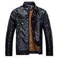 Winter Male Leather Jacket Mens Coats Fur inside Men Motorcycle Jacket High Quality PU Leather Outwear Jackets Plus Size.YA117