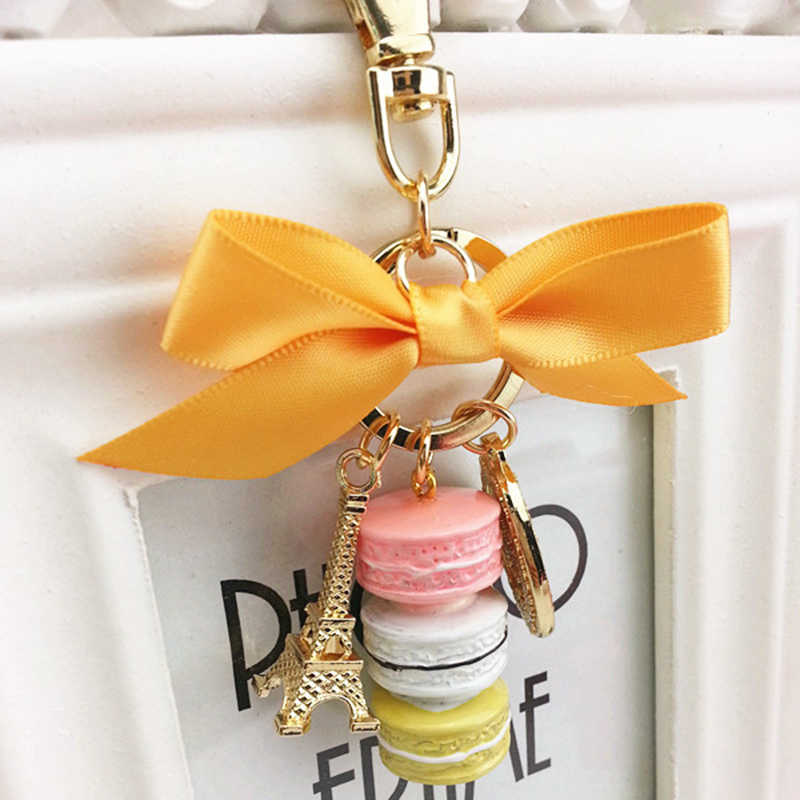 Moda Chaveiro Com Caixa de Macarons Bolo France Paris Macarons LADUREE Effiel Torre Fita Chaveiros Saco Charme Acessórios YSK083