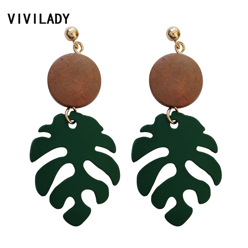 VIVILADY Bohemian Monstera Leaf Dangle Drop Earrings Women Tropical Plant Wood Brincos Statement Holiday Jewelry Party Gifts