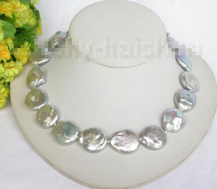 Livraison gratuite vente chaude femmes de mariée bijoux de mariage > > 23 mm gris pièce de fixation FW collier de perles j7592