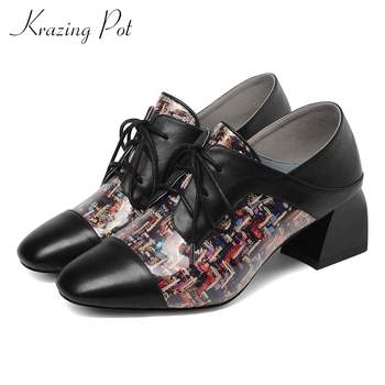 krazing Pot patterns TPU material genuine leather preppy style streetwear shoes women med heels round toe mixed color pumps L99