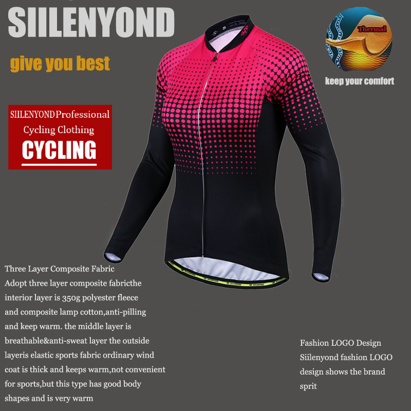 Siilenyond 2019 Women Winter Long Sleeve Cycling Jersey Keep Warm MTB Bicycle Cycling Clothes Thermal Fleece Cycling Clothing 5