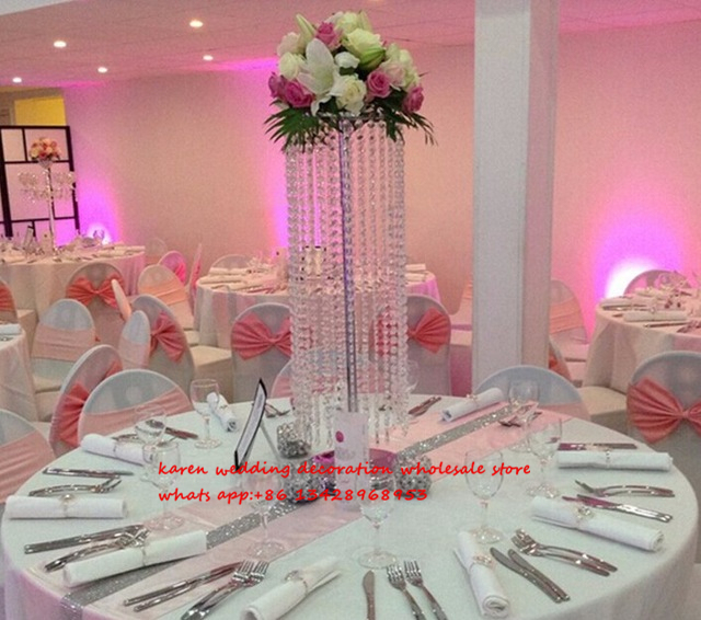 80cm Tall Cheap Acrylic Crystal Wedding Centerpiece Wedding Pillar