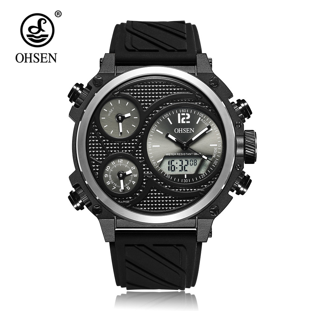 Top Brand OHSEN Quartz Digital Sport Mens Watch LED Analog Wristwatch Hombre Relogios Rubber Band Clock Fashion Watch Clock Gift