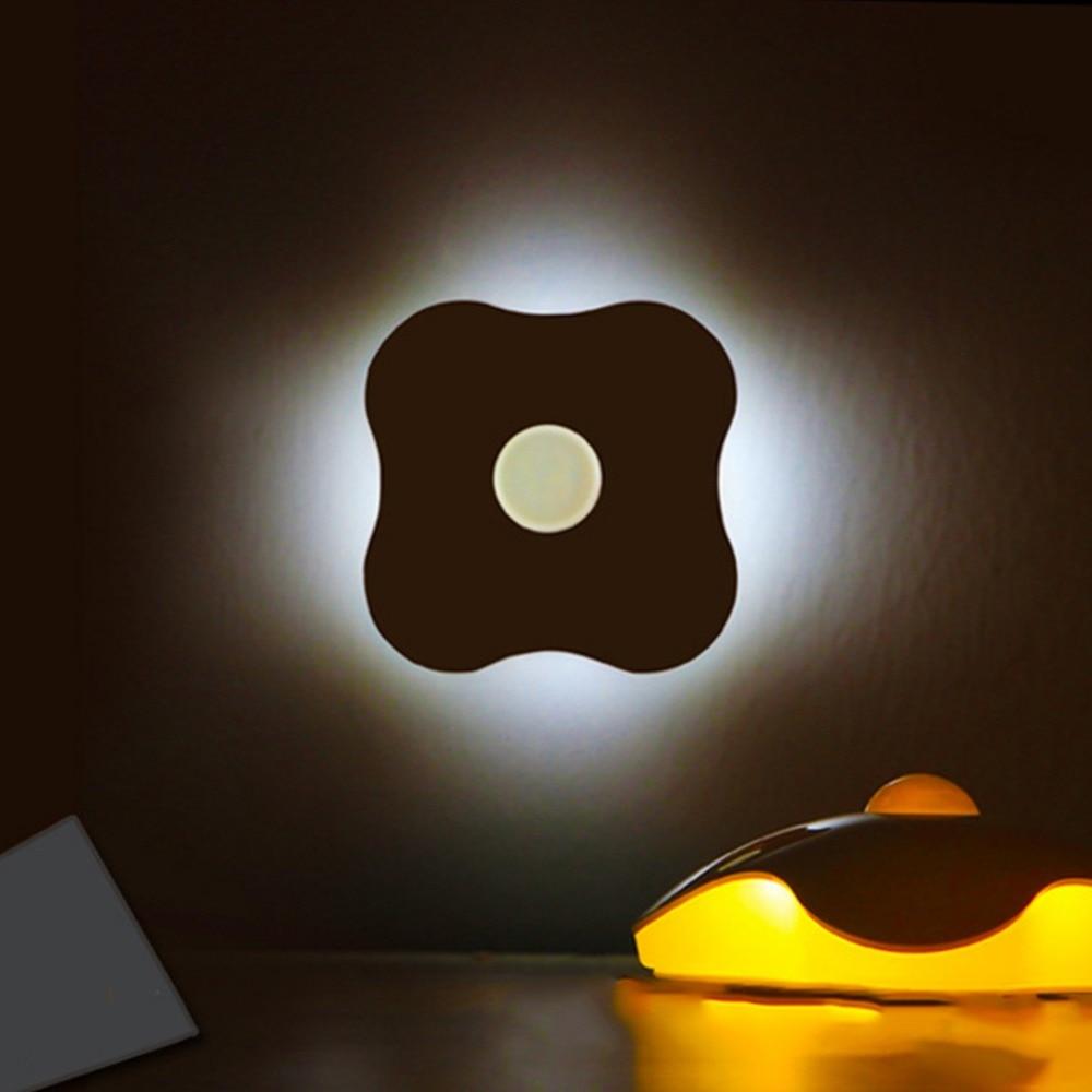Четыре листа клевера движения PIR Сенсор свет в ночь умного человека Средства ухода за кожей Индукционная Ночная Батарея USB гардероб Кабинет... ...