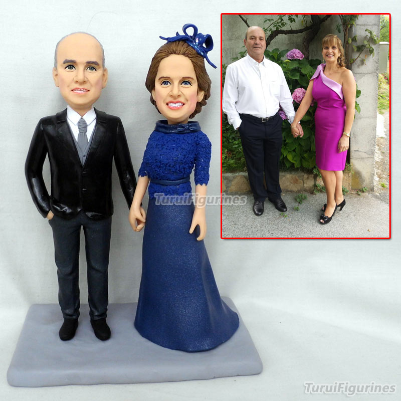 parent figurine custom bobblehead cheap wholesale wedding cake topper kiss lover figure customization couple dolls