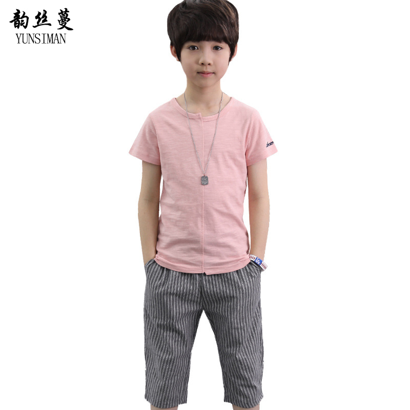 2018 Baby Boys Clothes Sets Size 8 9 10 11 12 Year Casual Big Boys Cotton T Shirt Stripe Pants Children Boys Clothing Suit 5C93