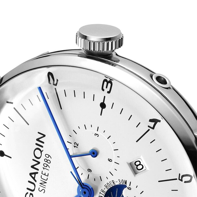 GUANQIN 2019 zegar biznes automatyczny zegarek mężczyźni stalowy szkielet mechaniczny wodoodporny zegarek top marka luksusowe relogio masculino w Zegarki mechaniczne od Zegarki na  Grupa 3
