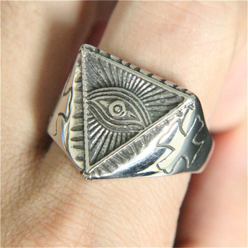 1 stück Unterstützung Dropship Silber Golden Eye Gottes Ring 316L Edelstahl Schmuck Männer Jungen Eye Ring