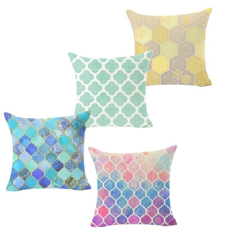 Pillowcase Mosaic Style Cushion Cover Cotton Linen Bird Square Blue Sofa Chair Throw Pillow Cover Home Decorative