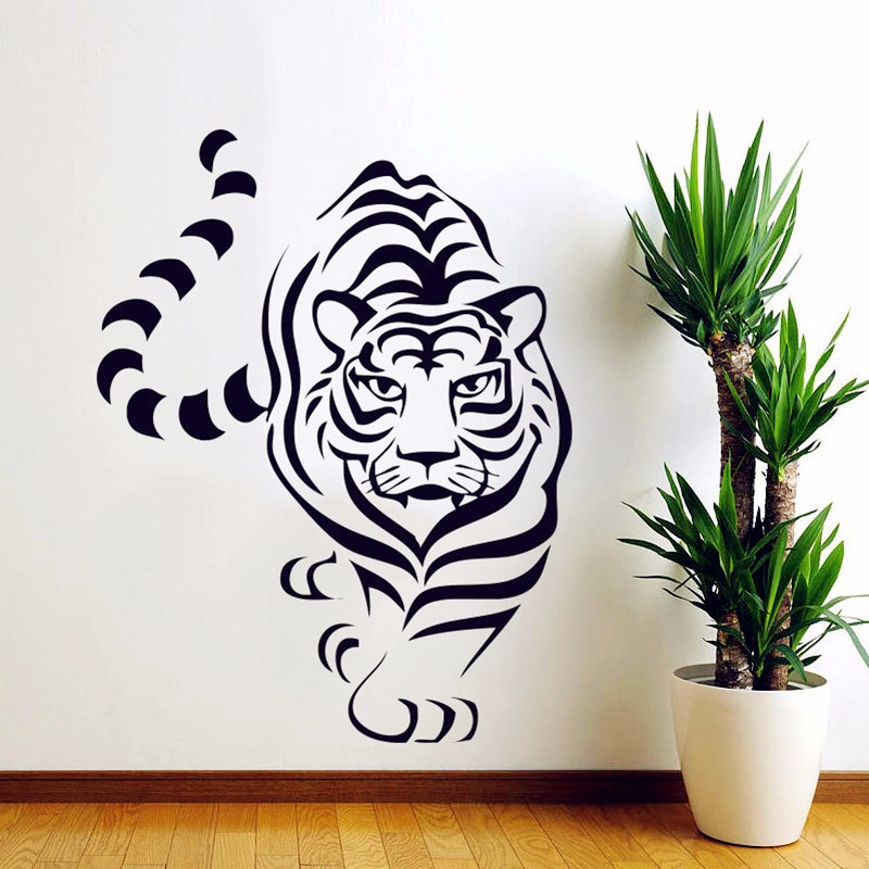 Animal tiger decals king of beasts wall stickers high for Quality home decor