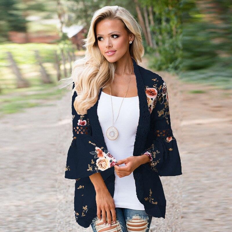 HTB1z9jXEeuSBuNjSsplq6ze8pXa0 Women Plus Size Loose Casual Basic Jackets Female 2018 Autumn Long Flare Sleeve Floral Print Outwear Coat Open Stitch Clothing