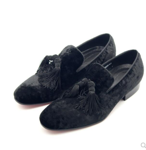 Oxfords Homem Primavera Sapatos Vestir 1 Casual Borlas Veludo Elegante De Flats Moda Homens Da Festa Franja Preto Mulas Casamento wPYRRq