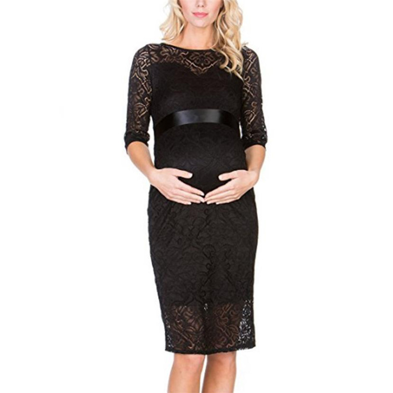 wholesale drop shipping Womens Mother Half Sleeve Lace Pregnants Dress For Maternity Clothes Fashion casual S3JUN8