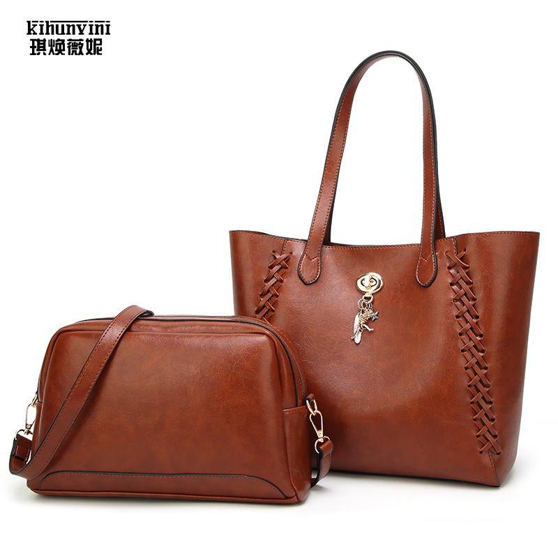 Women Bag Set High Quality Tote Bag Composite Bag Female Purse Waxed Leather Handbag Woven New Big Shoulder Shopping Mummy Bags women bag set high quality tote bag