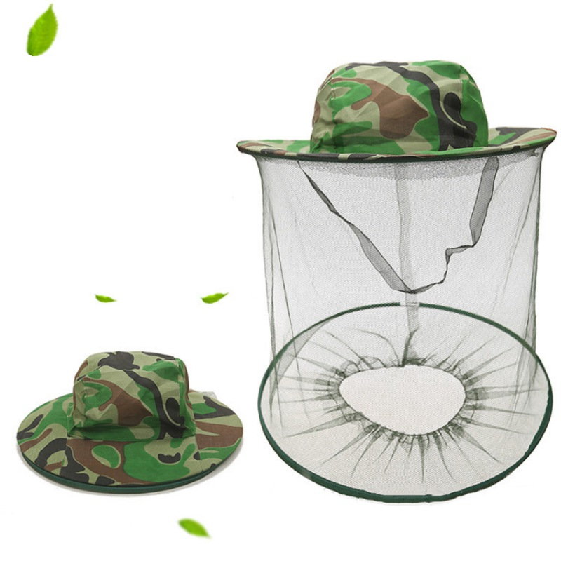 Beekeeper Anti-bite Veil Cap Fly Insect Bee Mask Face Protect Hat Camouflage Hat