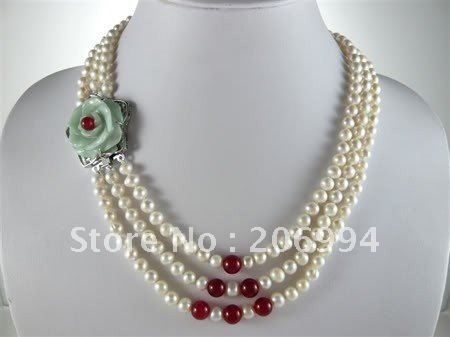 5c46b9d7901 new arrive design Real pretty 3rows white Freshwater pearl natural jade  necklace fashion jewellery